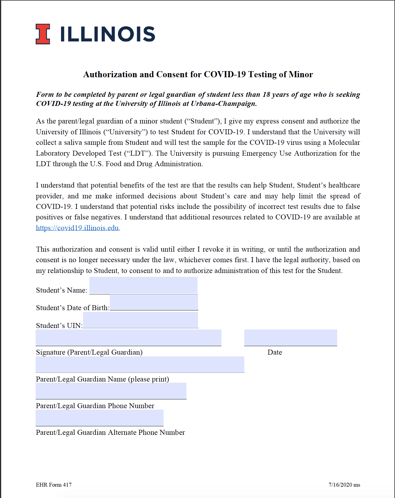Uni High - Authorization and Consent for COVID-19 Testing of Minor Form